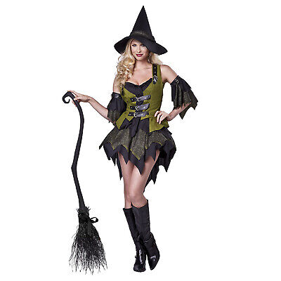 Green Witch Costume (Adult Women's Classic Bewitching Witch Green Costume Short Dress Hat Vest)