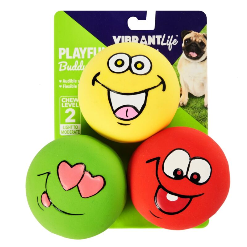 Vibrant Life Playful Buddy Emoticon Dog Chew Toy, Chew Level 2, 3 Count-FREESHIP