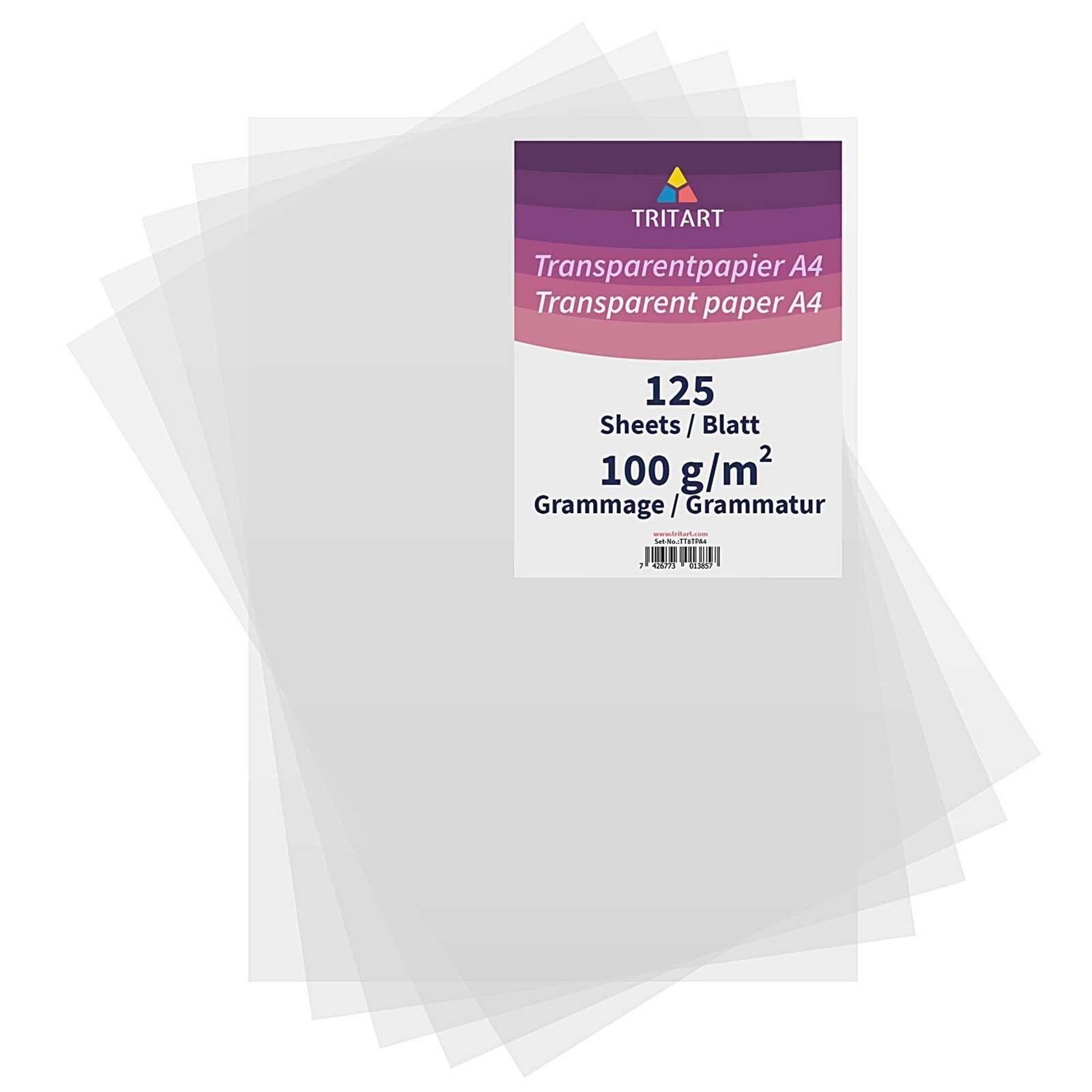 Transparentpapier Bedruckbar Weiß DIN A4 | 125 Blatt 100g/qm Papier Transparent