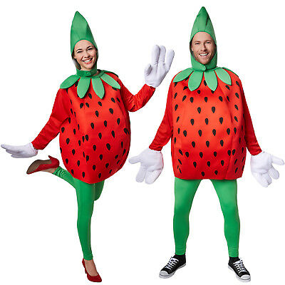 Kostüm Erdbeere Unisex Halloween Karneval Fasching Damen Herren Obst Frucht
