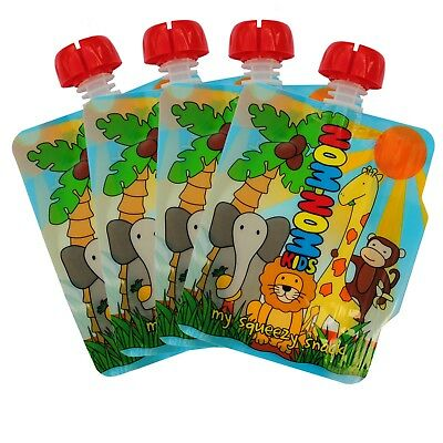 REUSABLE FOOD POUCHES x 4 - 140ml Animal pouches for baby & toddler, BPA free