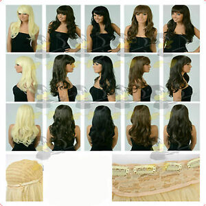 Premium-Full-Head-Curl-Wave-Long-Wig-BLACK-BROWN-BLONDE-RED-Like-Human-Hair