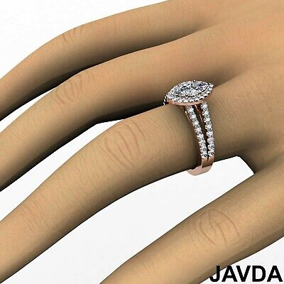 Halo French U Pave Marquise Cut Diamond Engagement Ring GIA Color E VVS2 1.96Ct 10