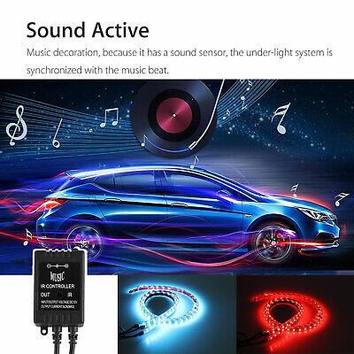 RGB 48 LED Strip Under Car Tube Underglow Underbody System 4Pcs Neon Lights Kit 2