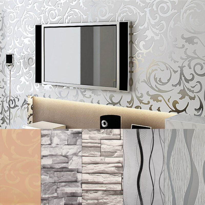 Home Decoration - 3D Luxury Victorian Embossed 10M Wallpaper Feature Design Wall Paper Roll