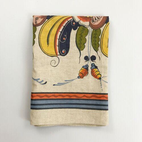 """VTG JOBS HANDTRYCK Scandavian Textile 27""""x37"""" Floral Linen Wall Art Table Runner"""