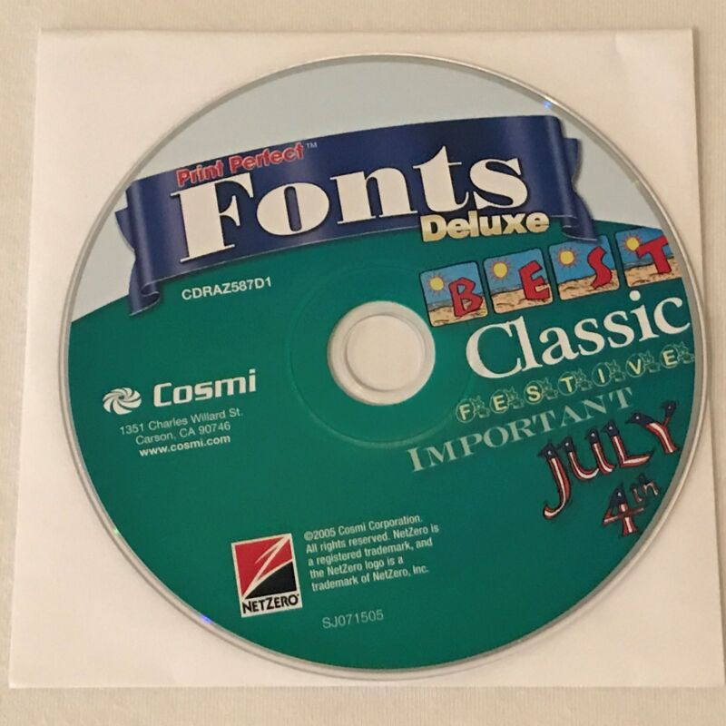 Cosmi Print Perfect Fonts Deluxe PC Computer Software Program CD-ROM Disk Only