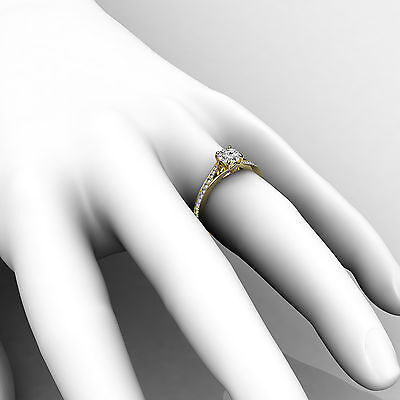 Cathedral Split Shank Round Diamond Engagement Pave Set Ring GIA D VS1 0.85 Ct 4