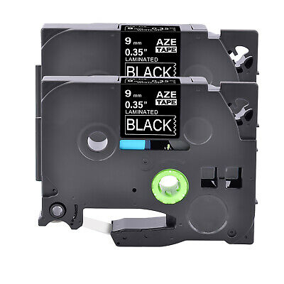 2pk Tz325 Tze325 White On Black Label Tape Fit For Brother P-touch 38 9mm8m