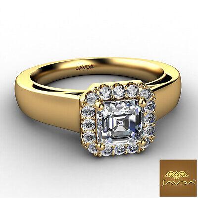 Asscher Diamond Engagement GIA H VVS2 18k White Gold Halo Pave Set Ring 0.7Ct 5