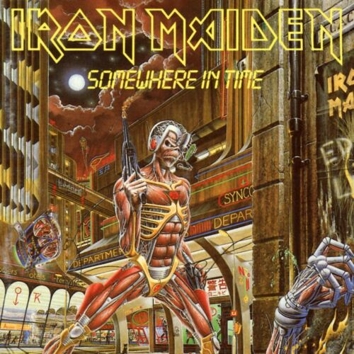 IRON MAIDEN Somewhere in Time BANNER HUGE 4X4 Ft Tapestry Fabric Poster Flag cd