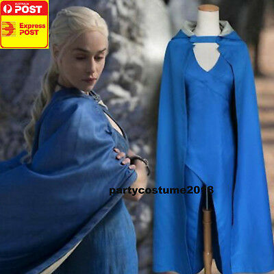 GAME OF THRONE KHALEESI MOVIE COSPLAY COSTUME BLUE DRESS - Khaleesi Blue Dress Costume