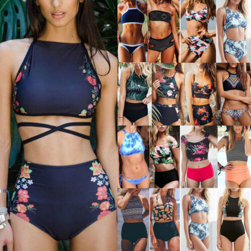 Damen Padded Push up Bikini Set Crop Top Badeanzug Bademode Schwimmanzug Beach