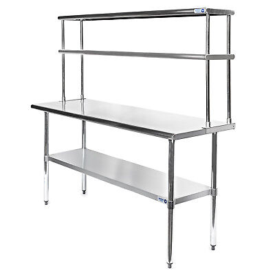 Commercial Stainless Steel Kitchen Prep Table With Double Overshelf- 30 X 60