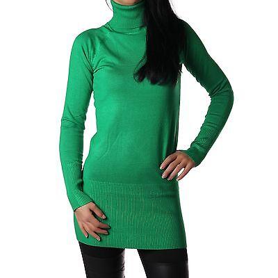 Damen Rollkragenpullover Rollkragen Pullover lang Rolli dunkelgrün Neu 32-36