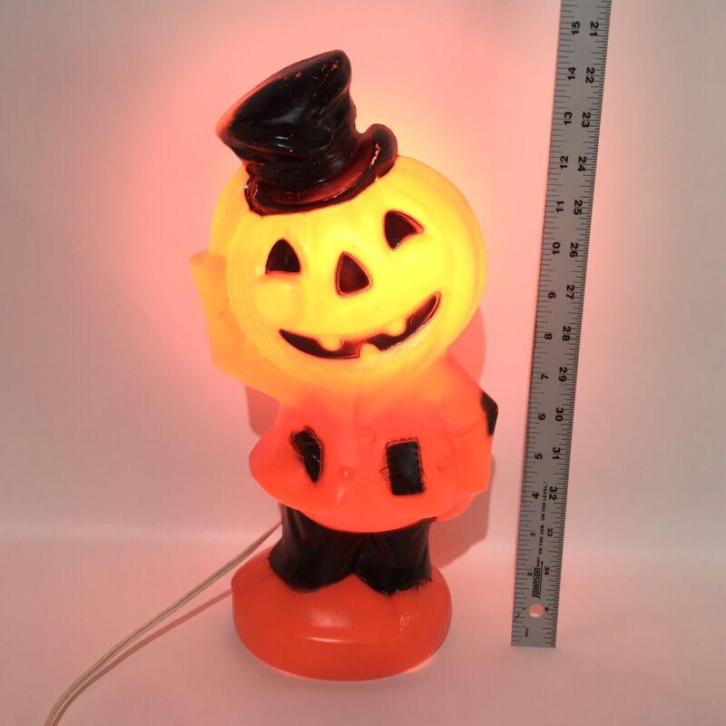 "Vintage Halloween Jack O Lantern Pumpkin Head Man Empire Blow Mold 14"" Lights Up"