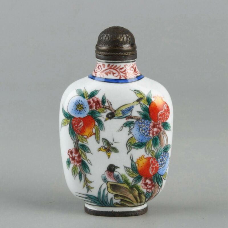 Chinese Exquisite Handmade fruit bird copper Enamel snuff bottle