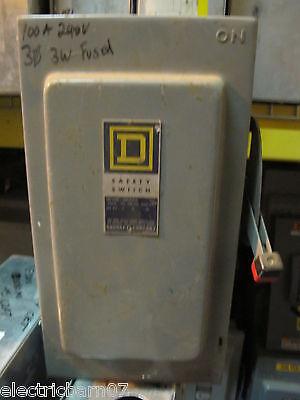 Square D H323 Series D 100 Amp 240 Volt 3p3w Fusible Vintage Disconnect