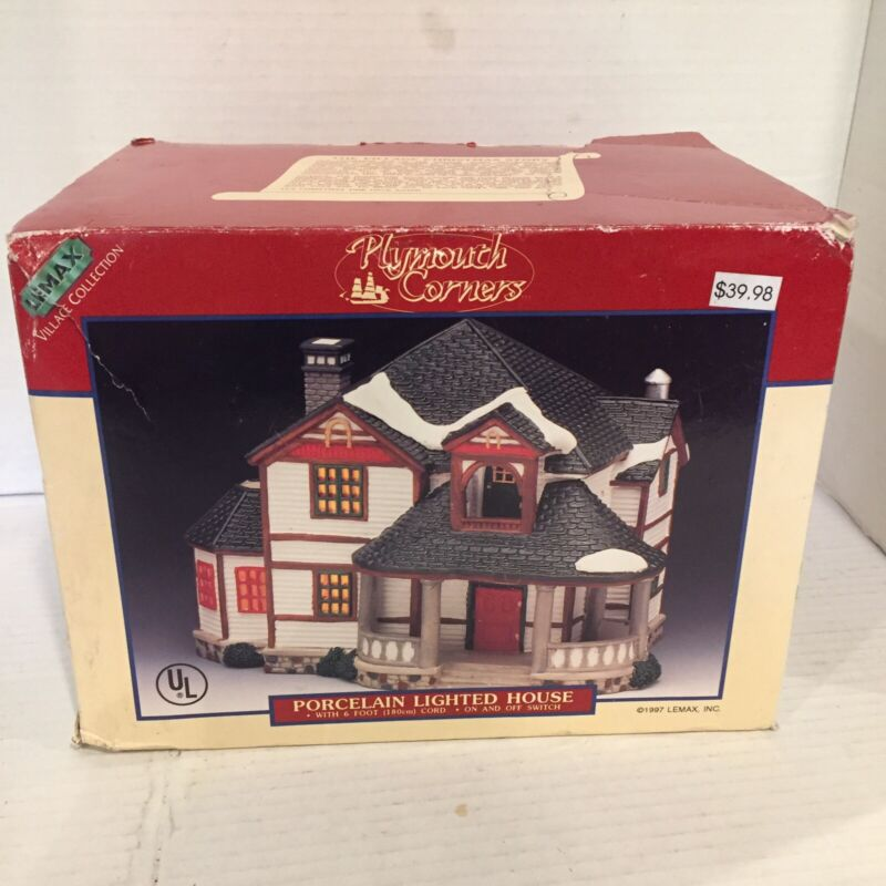 LEMAX PLYMOUTH CORNERS Christmas Village 1997 Porcelain Lighted House RETIRED