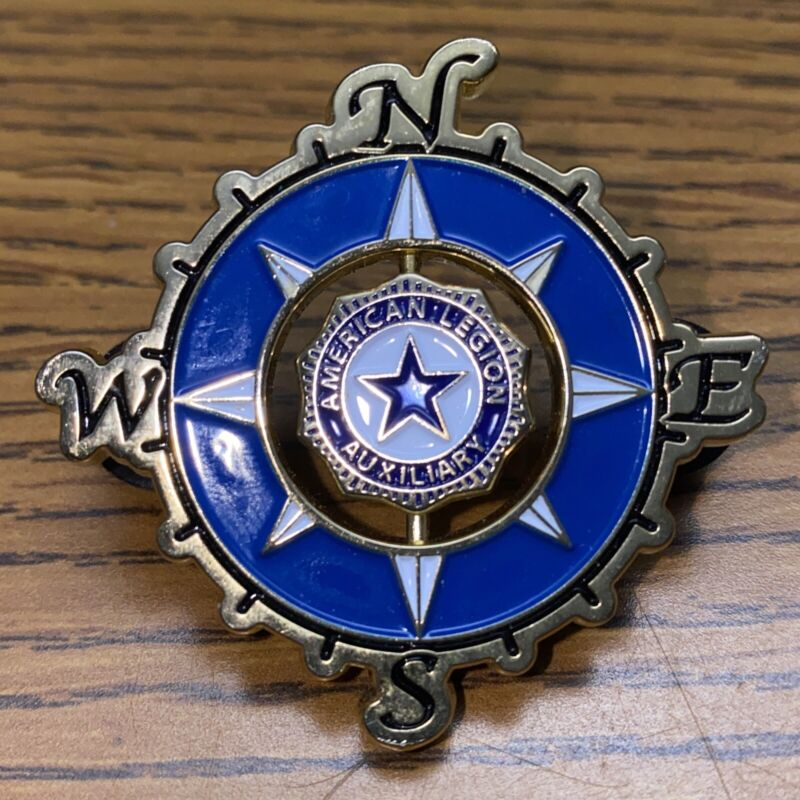 American Legion Auxiliary Lapel Pin Blue Star Spinner Compas Dept Of President