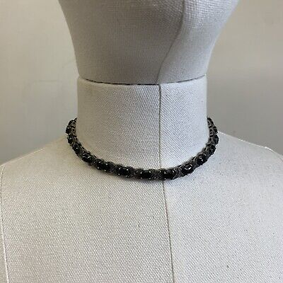 Sterling Silver 925 Marcasite Chip Onyx Oval Shaped Collar Necklace❤️❤️❤️ Marcasite Onyx Necklace