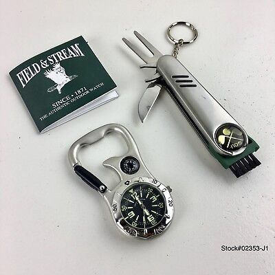 Field & Stream quartz Belt watch with compass and functional golf tool Keychain.