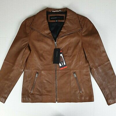 NWT Marc New York Andrew Marc Women's Leather Jacket, Size Medium, Cognac