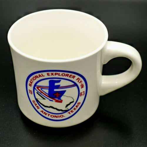 Vintage 1983 Boy Scout National Explorer Fly-In Coffee Cup San Antonio Texas MUG