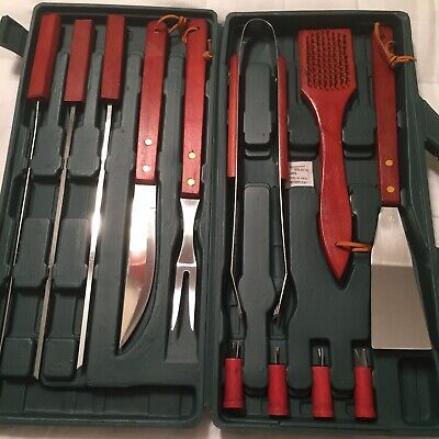 Kitchen Worthy 12 Piece BBQ Tool Set In Heavy Plastic Carrying Case