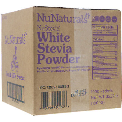 NuNaturals  NuStevia  White Stevia Powder  1000 Packets  2 23 lbs  1000 (Nunaturals White Stevia Powder Packets)