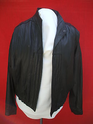 1980'S vintage european fashion formal  leather jacket made in spain buades