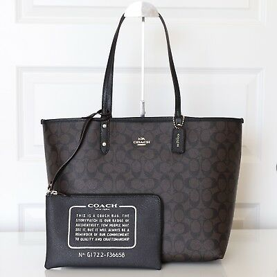 New Coach F36658 Reversible City Tote In Signature Brown Black
