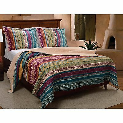 Beautiful Chic Blue Teal Purple Green Red Moroccan Bohemian Global Quilt Set New