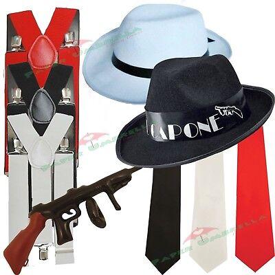 Herren Gangster Mafia Hut Hosenträger Binder 1920er jahre Maskenkostüm