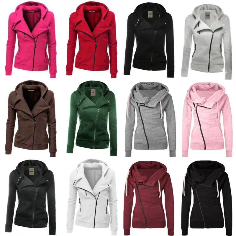 Damen Kapuze Pullover Sweatshirt Mäntel Langarm Zipper Sport Jacke Wintermantel