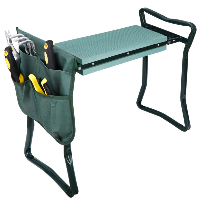 Foldable Kneeler Garden Kneeling Bench Stool Soft Cushion Seat Pad & Tool Pouch
