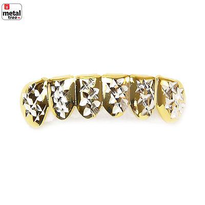 Men's Hip Hop CZ 14k Gold Plated CZ Cut 2 Tone Bottom Teeth Grillz S001 C2