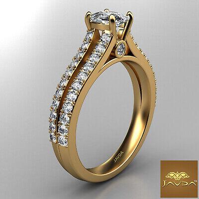 French V Pave Split Shank Cushion Diamond Engagement Ring GIA F Color VS1 1.15Ct 6
