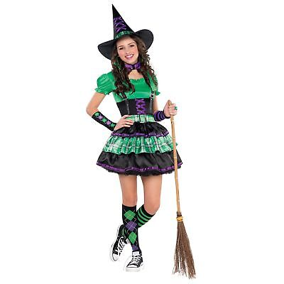 Wicked Cool Witch Halloween Green Purple Teens Girls Kids Fancy Dress Costume - Cool Halloween Costumes Girl