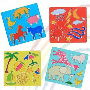 4Pc Assorted Shape +MINI STENCIL SET+ Fun Art/Craft Kids Animals/Holiday/Beach