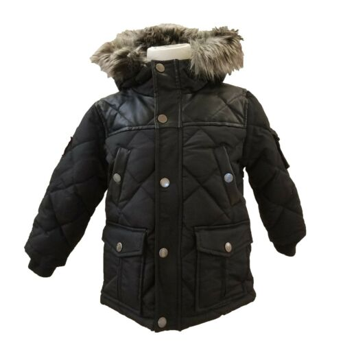 Triple FAT Goose Boys Quilted Down Parka w/ Faux Fur | Black/Navy 4-6 | NEW