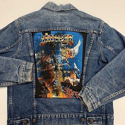 Vintage 90s Stryper Custom Denim Jacket Adult M Blue Music Christian Metal Band