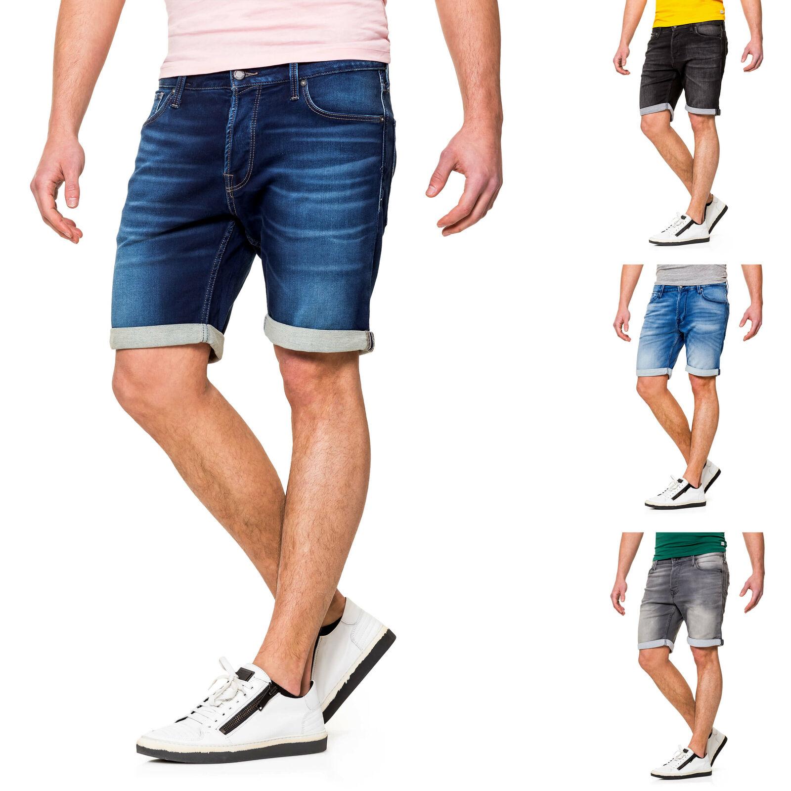 Jack & Jones Herren Jeans Shorts Bermudas Used Look Kurze Hose Herrenshorts