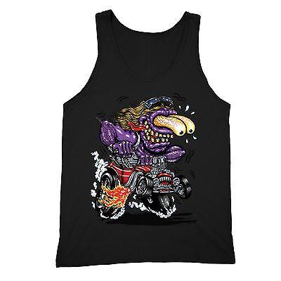 Purple Monster Tanktop Cartoon Hot Rod Muscle Car Flames Biker Motorcycle Tee