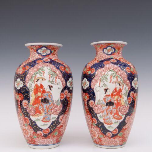 Nice large pair of Japanese Imari porcelain vases, figures / phoenix, circa 1900