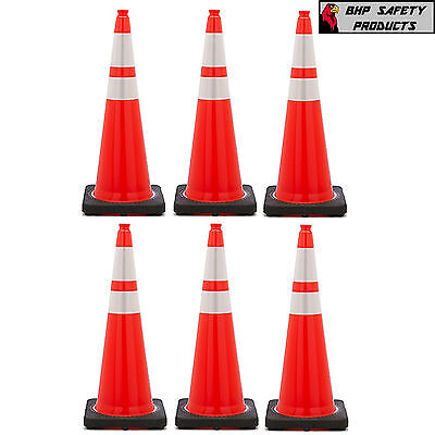 36 Inch Orange Safety Traffic Cones Black Base 3m Relfective Collars 6 Pack