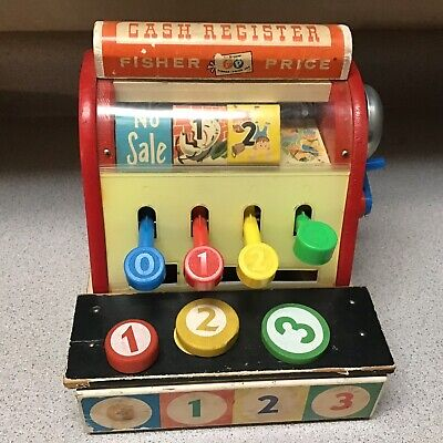 Vtg Fisher Price Wood Cash Register #972 *complete W/ Wooden Coins 1960's