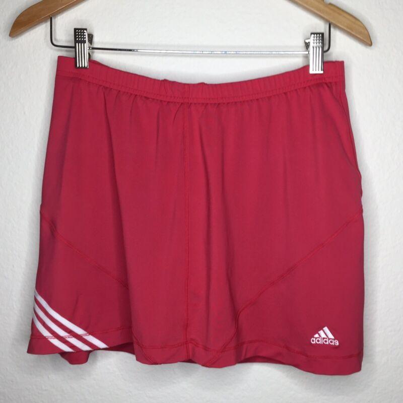 Adidas Climalite Women's Athletic Workout Skort Stripes Shorts Coral Size Medium