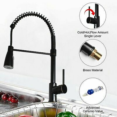 Pull Out Sprayer Kitchen Sink Faucet Brush Black Single Hole Swivel Mixer Tap US