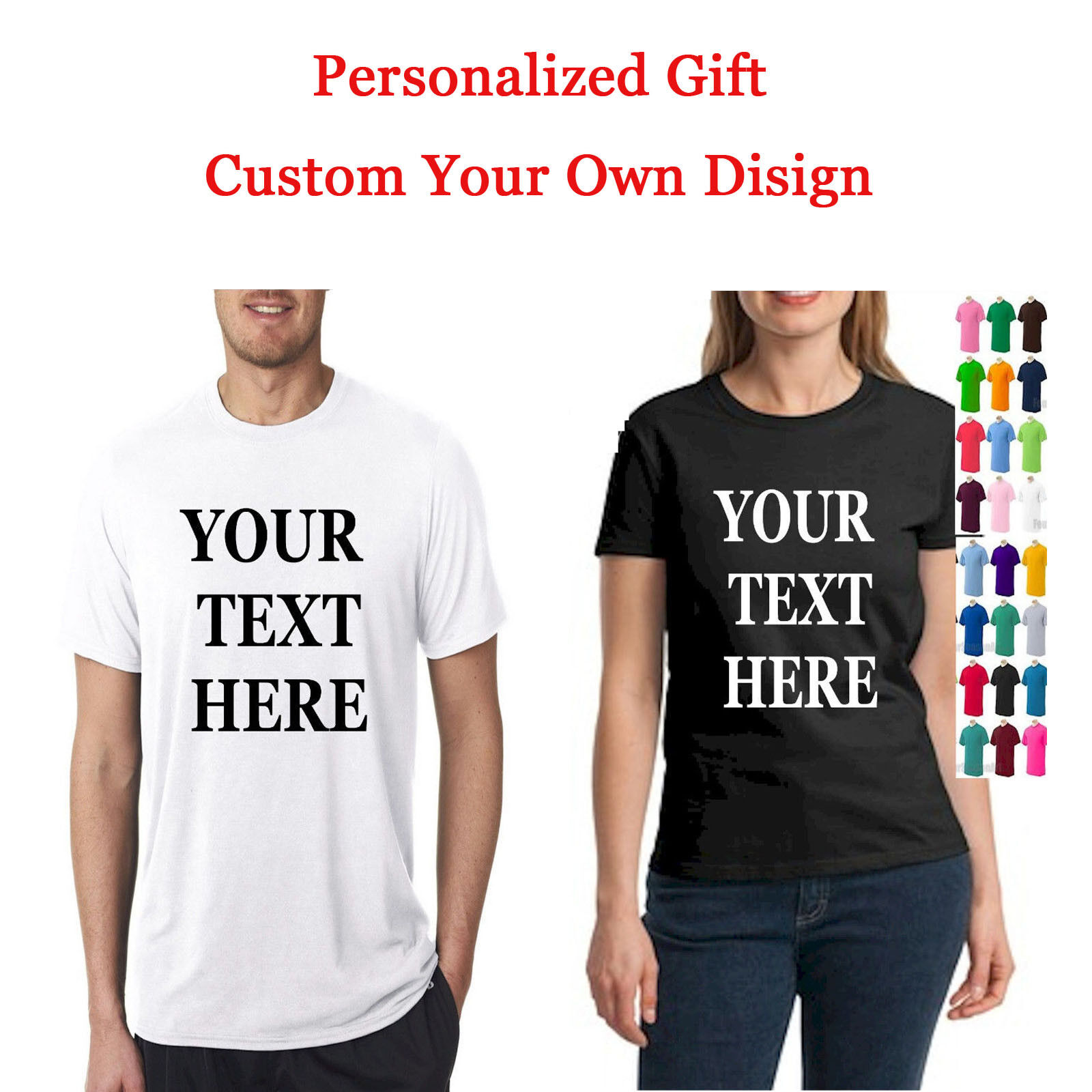 6e5767ad5533 Details about Personalized Custom Men Women T-Shirt Printing Your Photo Text  Logo Couple Gift